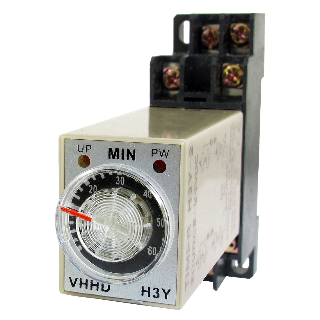 DC 24V 60Min 0-60 Minute Delay Timer Time Relay H3Y-2 + 8 Pin DIN Rail Socket