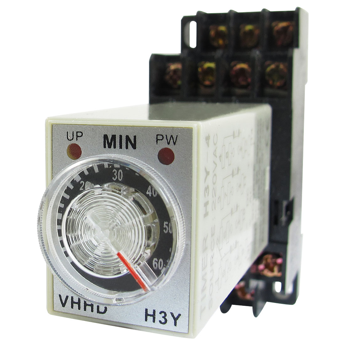H3Y-4 LED Indicator Power Timing Relay 4PDT 14 Pin 0-60m 60 Min 220V AC w Base