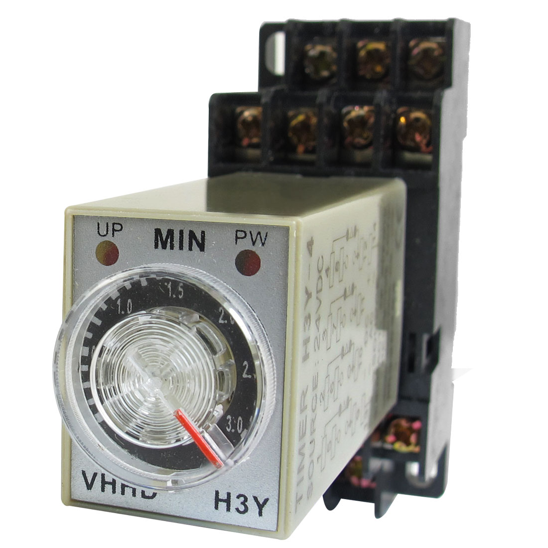 H3Y-4 LED Indicator Power Timing Relay 4PDT 14 Pin 3 Min 24V DC w Base