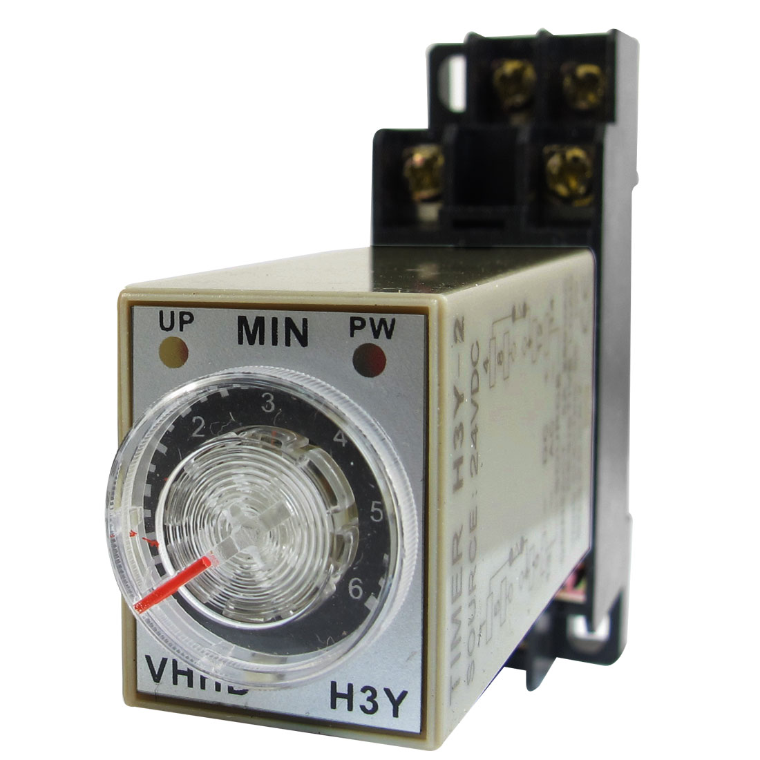 H3Y-2 On/Up LED Indicator Power Timing Relay 8 Pin 0-6m 6 Min 24V DC + Base