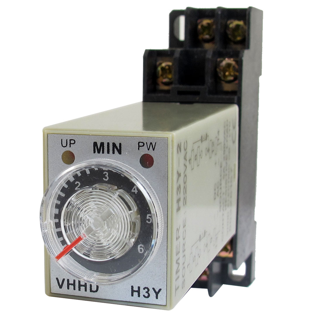 AC 220V 6Min 0-6 Minute Delay Timer Time Relay H3Y-2 + 8 Pin DIN Rail Socket