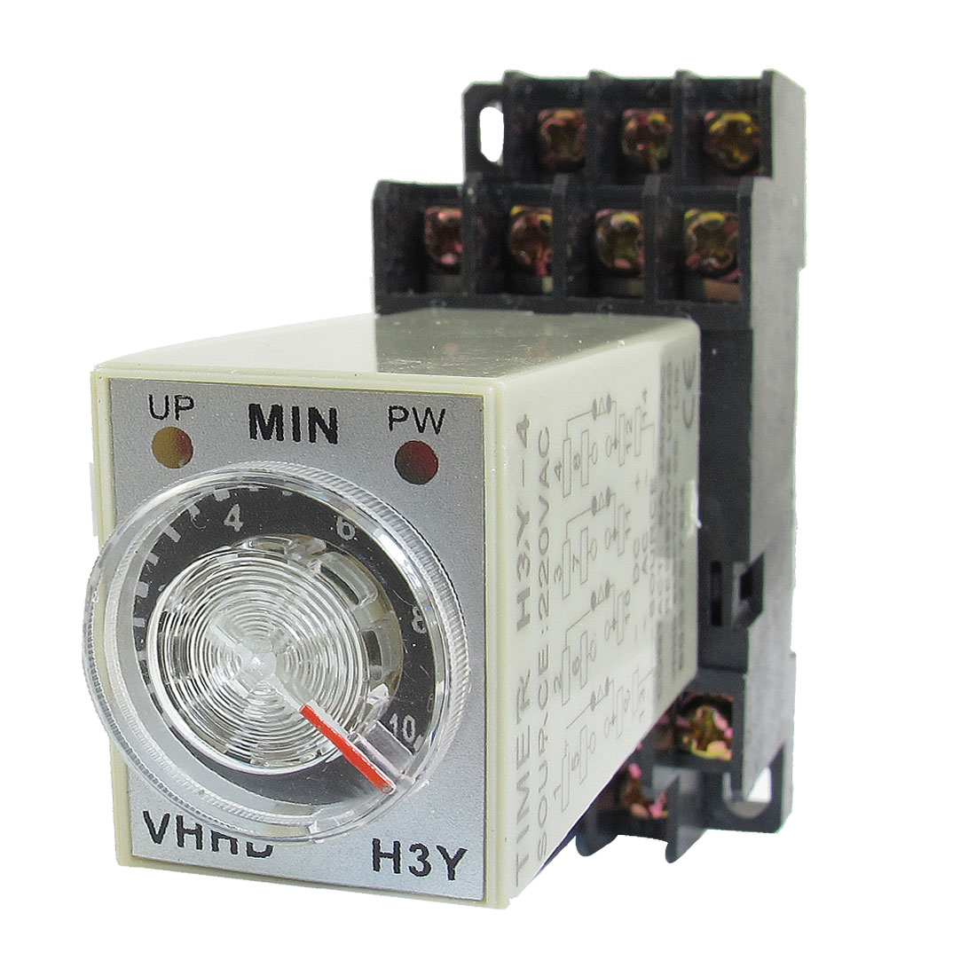 AC 220V 0-10 Minute 10m Timer Power On Delay Time Relay 14 Pin H3Y-4 + Socket
