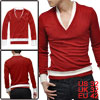 Men Red Stylish Fake Two Pieces V-neck Long Sleeve Fall Casual Tee Shirt XS