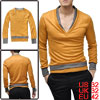 Men Dark Yellow Long Sleeve Ribbed Detail Pullover Design Layered Shirts Shirt XS