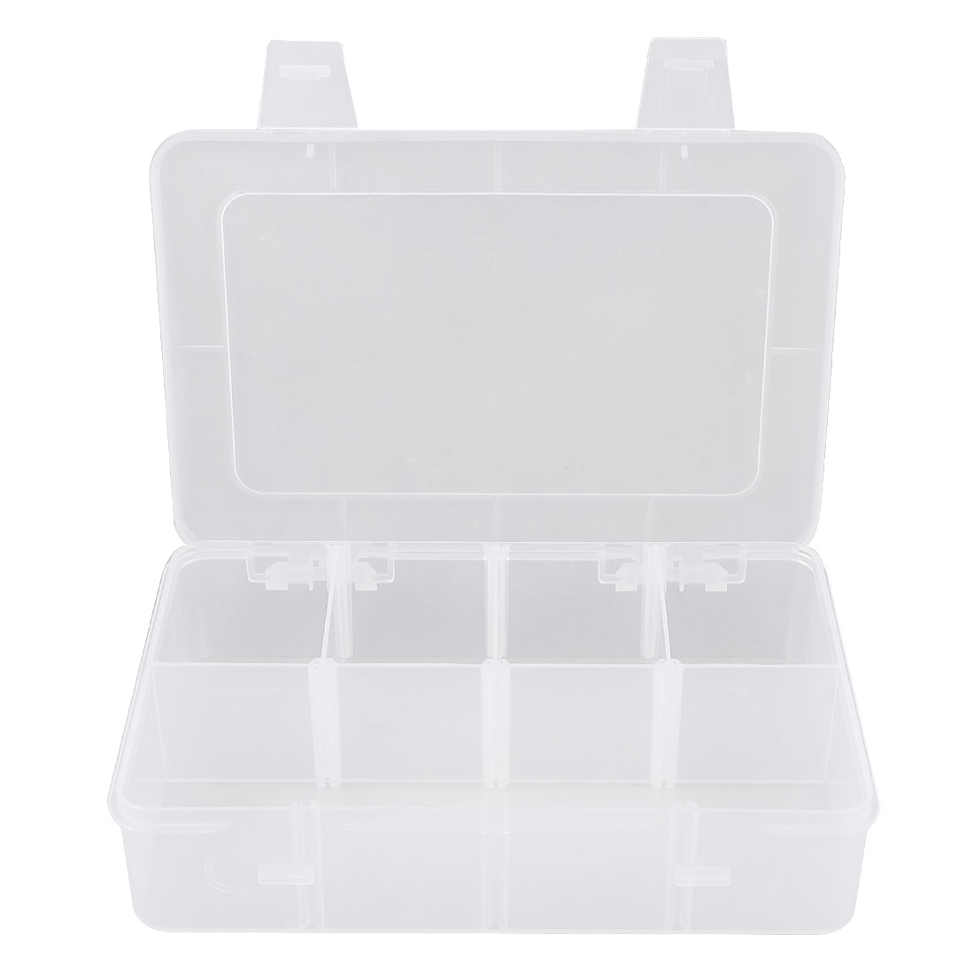 Clear White Plastic Electronic Component Storage Case Holder 18.5cm x 12cm x 4cm