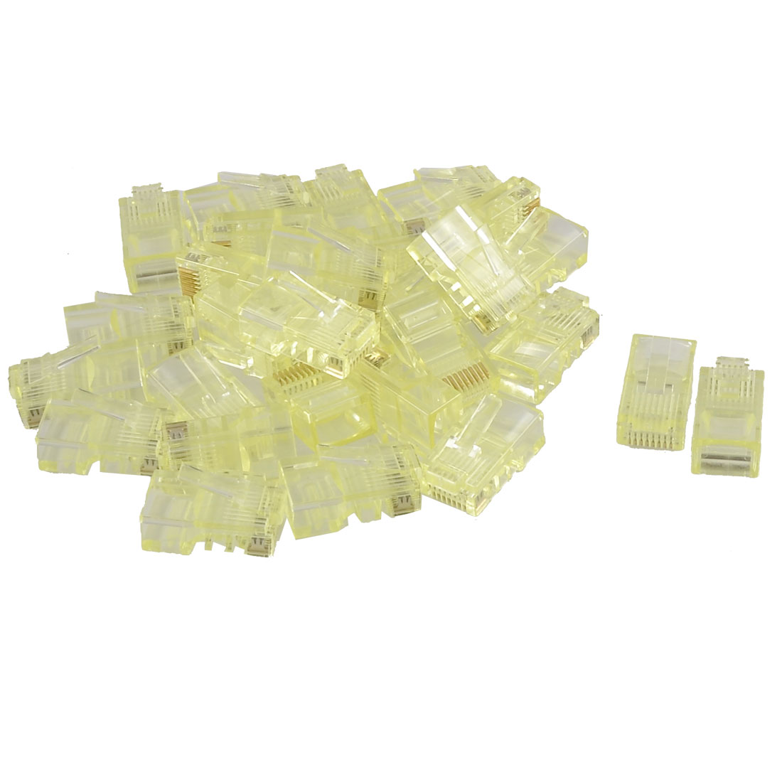 Light Yellow 8P8C Cat5 CatE Modular Network Cable Plug RJ45 Connector 30 Pcs