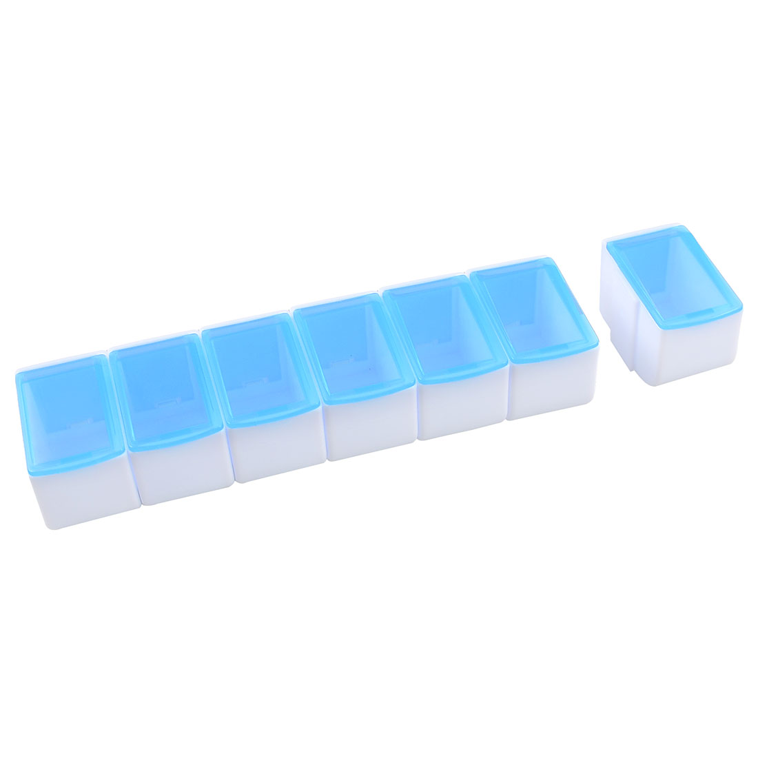 Clear Blue White Plastic Detachable 7 Mini Boxes Linked Storage Case Box Holder