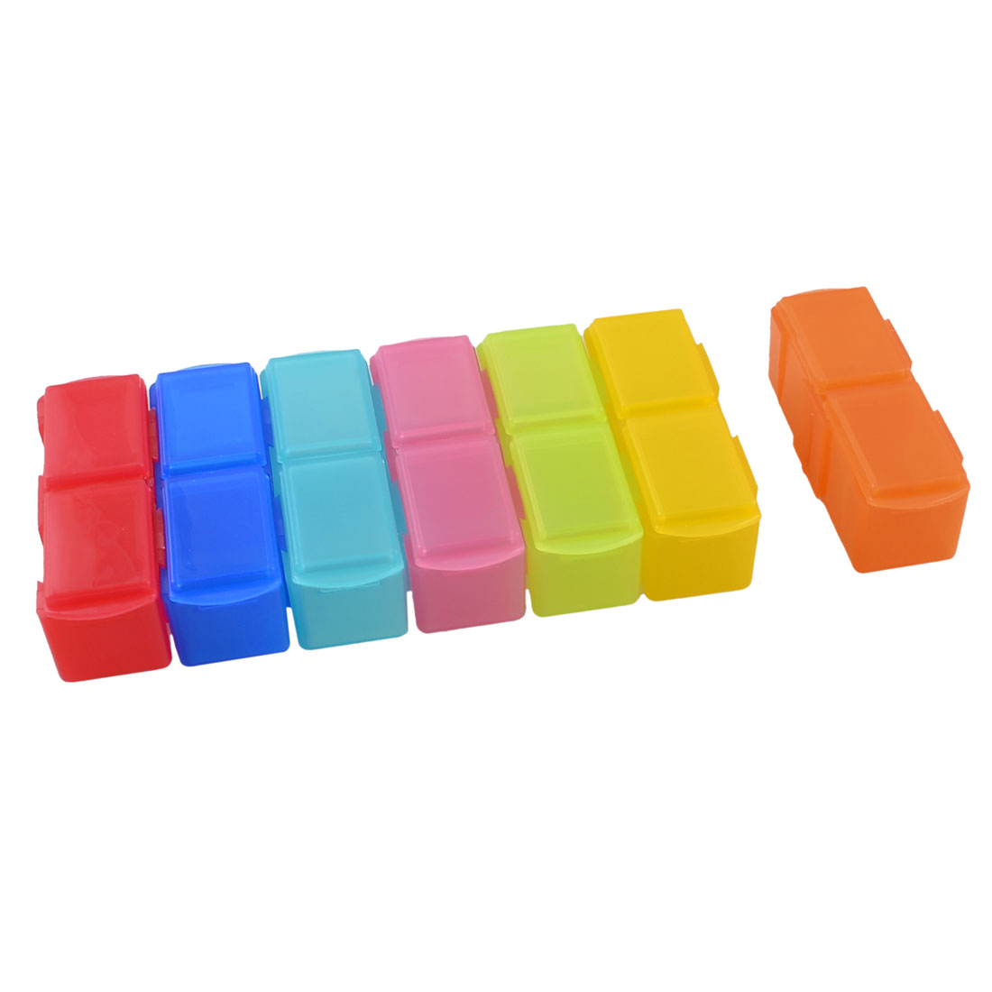 Assorted Colors Plastic Detachable 14 Mini Boxes Linked Storage Case Box Holder