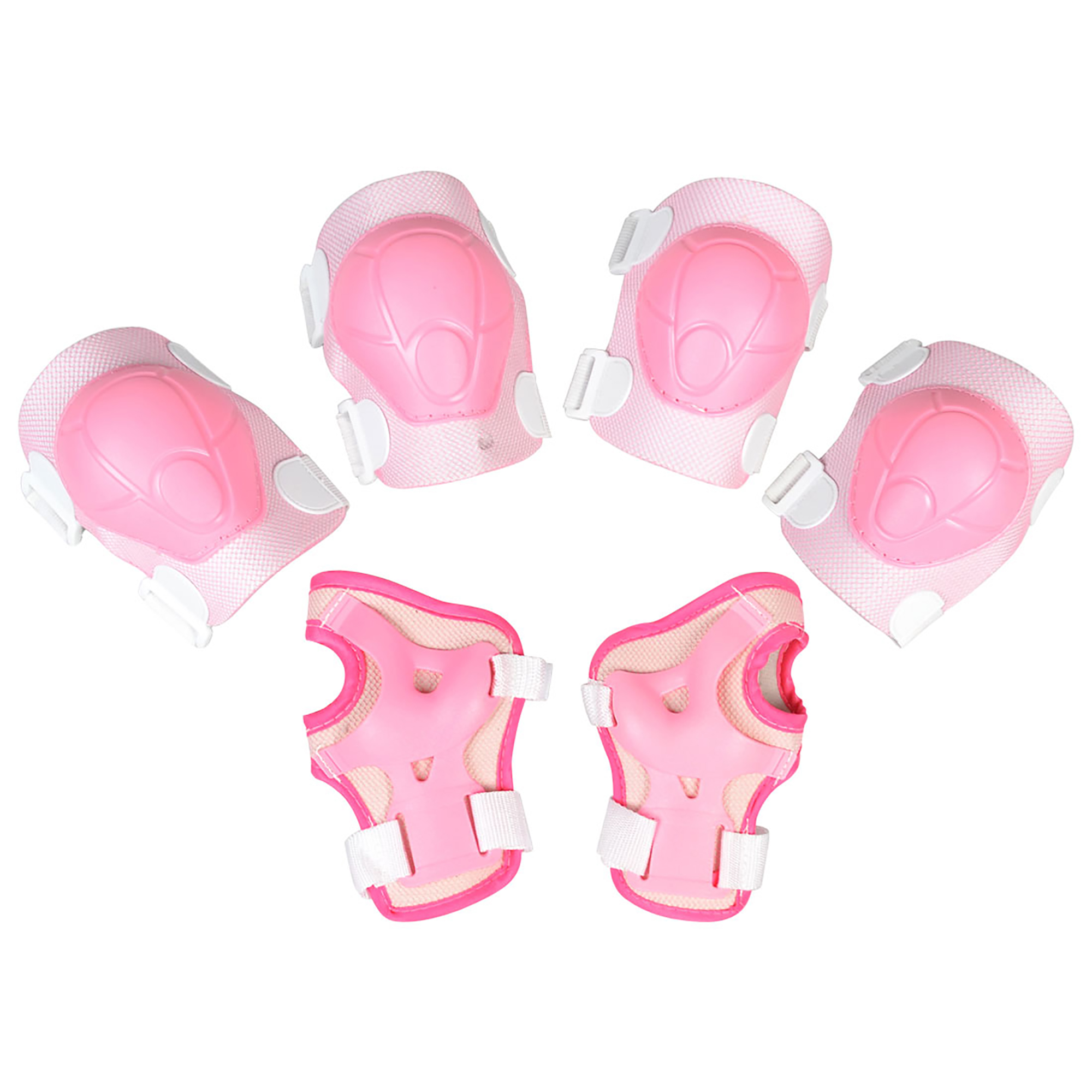Children Pink White Protective Pads Palm Elbow Knee Protector Support Set 6 in 1