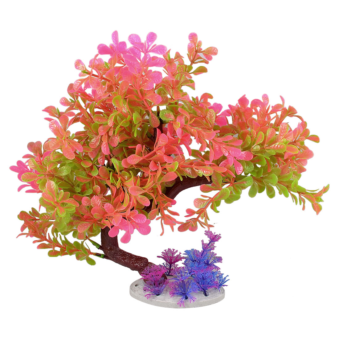 "10.6"" Height Plastic Green Fuchsia Leaves Aquarium Underwater Tree Plants for Fish Tank"