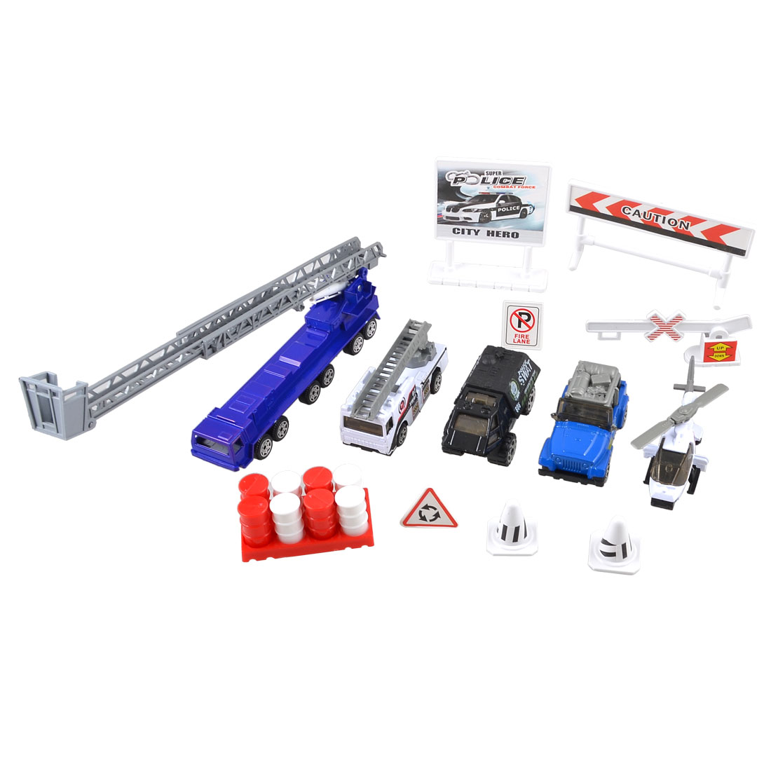 Child Plastic Helicopter Roadblocks Parking Barrier Police Car Toy Set 13 in 1