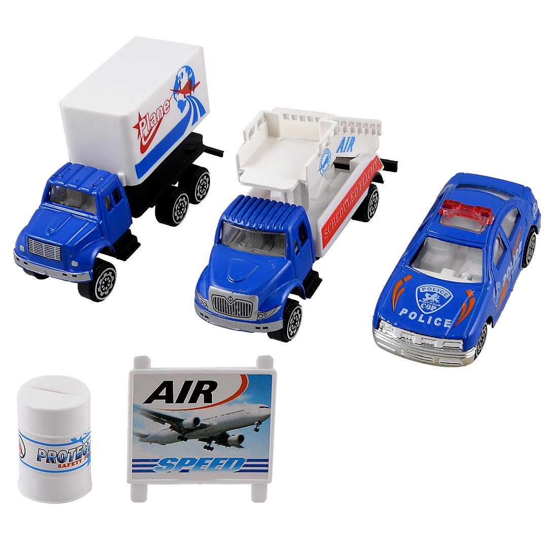 Set 5 in 1 Blue White Plastic Fuel Barrel Model Police Car Truck Toy for Children