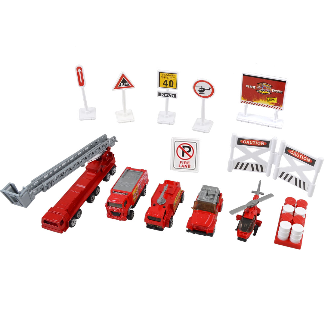 Children Plastic Fuel Barrel Roadblocks Helicopter Fire Engine Truck Toy Set 13 in 1