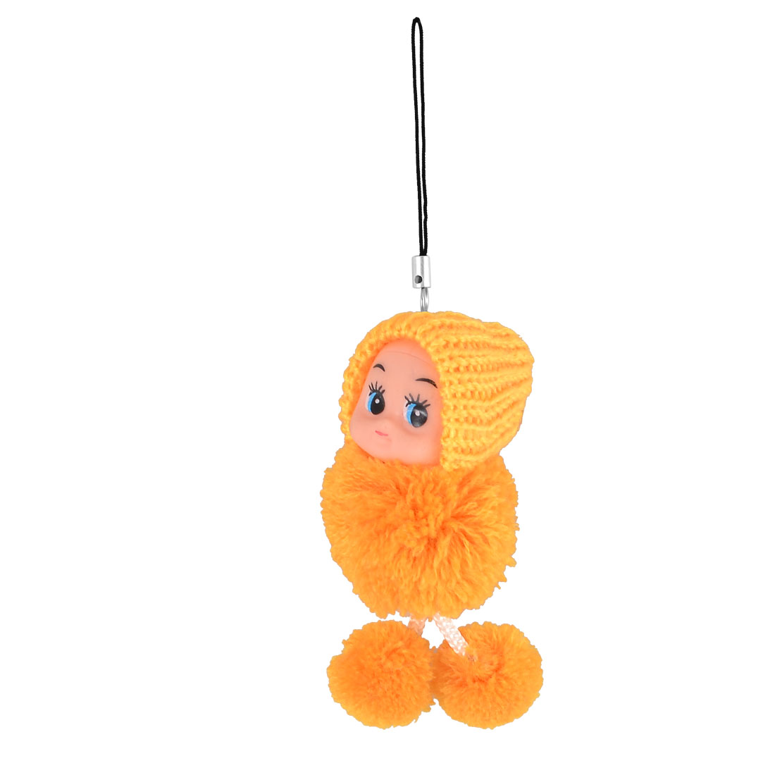 Yellow Knitted Hat Pom Pom Doll Pendant Strap String for MP3 MP4 Cell Phone