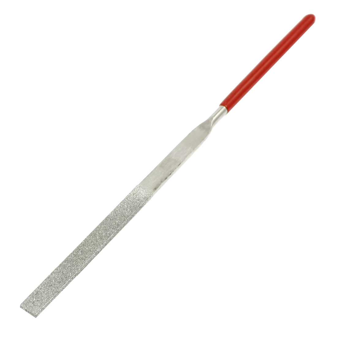 3mm x 140mm Glass Stone Handle Tool Flat Diamond Files Red Silver Tone