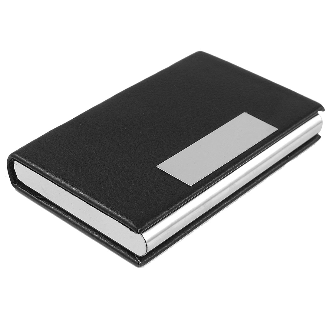 Faux Leather Coated Textured Magnetic Credit Business Card Case Holder Black