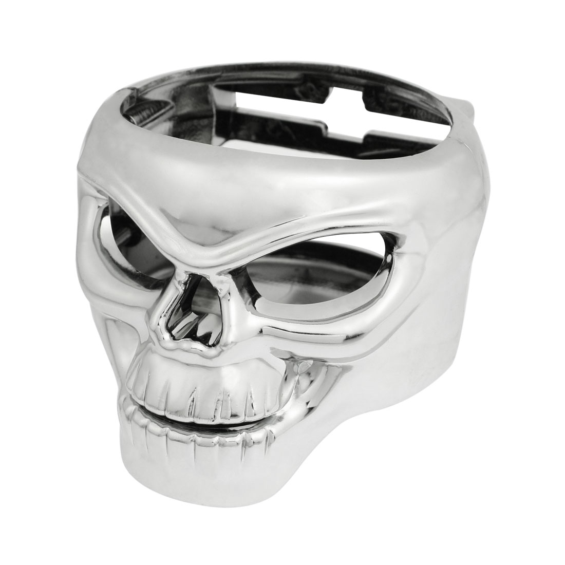 Truck Car Skull Shaped Beverage Bottle Can Drink Cup Holder Stand Silver Tone