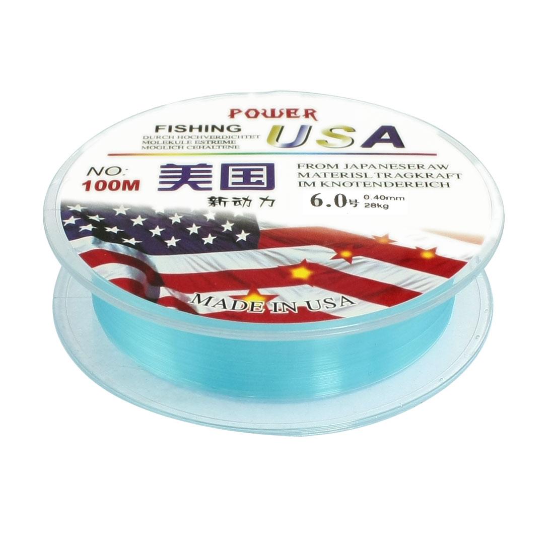 6.0# Blue Nylon Thread 0.40mm Dia 28Kg Fishing Line Spool 100M