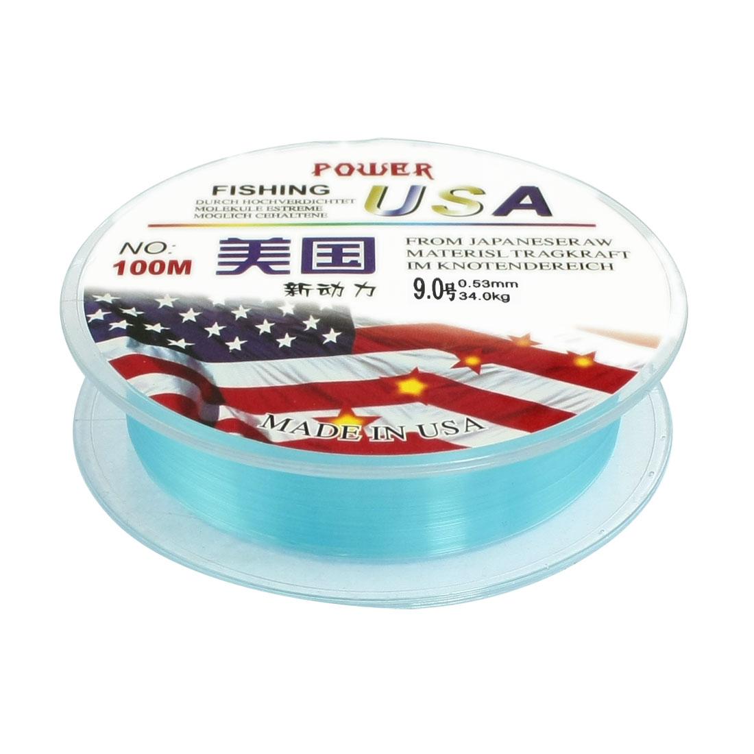 9.0# Blue Nylon Thread 0.53mm Dia 34Kg Fishing Line Spool 100M