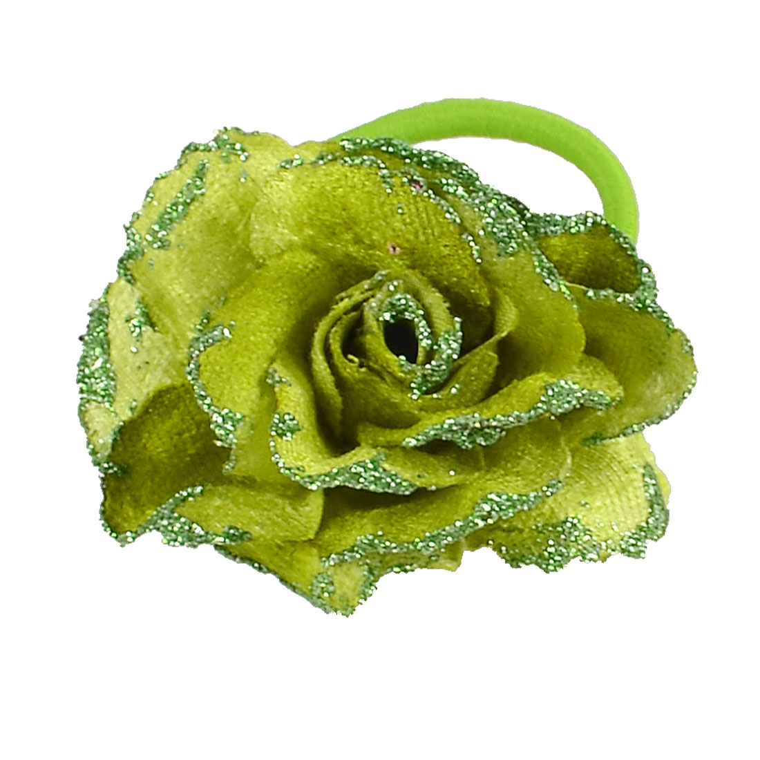Lady Woman Glitter Powder Accent Elastic Hair Band Corsage Green