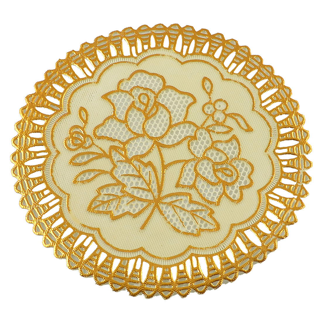 Gold Tone Round Hollow Out Mesh Table Coasters Cup Pot Mat Heat Insulation Pad