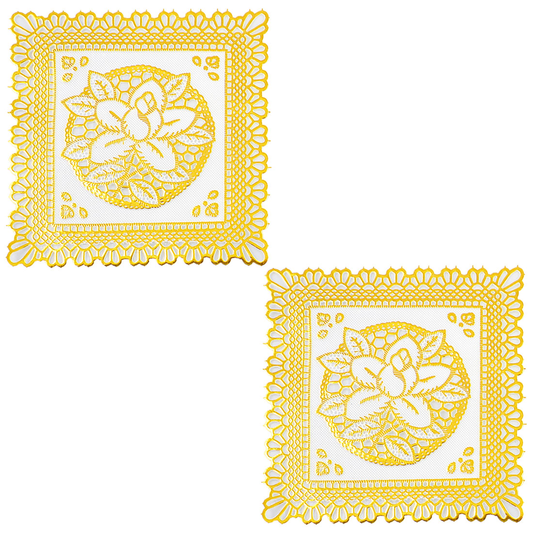 Flower Pattern Square Gold Tone Table Coaster Cup Mat Heat Insulation Pad 2 Pcs