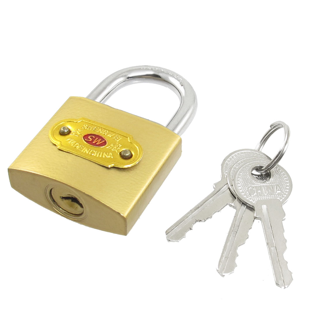 "Cabinet Jewlery Box Packsack Brass Padlock 2.3"" Height Gold Tone w Three Keys"