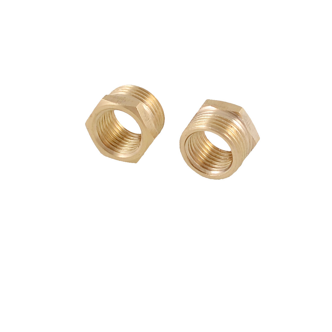 2 Pcs Hose Fitting Connector 16mm x 12mm Thread Brass Hex Bushing Gold Tone