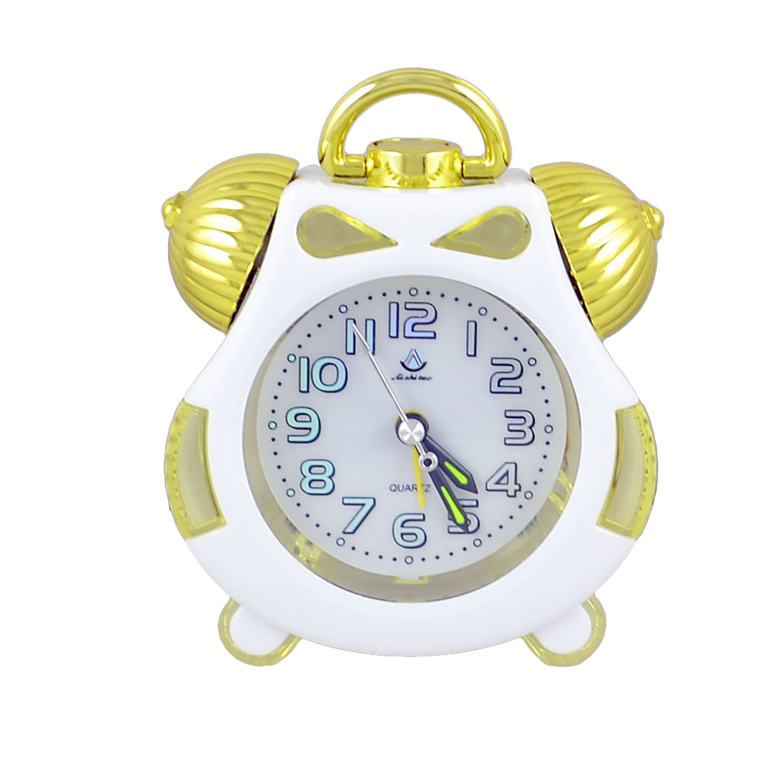 Gold Tone White Plastic Battery Powered Arabic Numberals Marking Dial Desk Alarm Clock