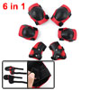 Cycling Inline Roller Skating Wrist Elbow Knee Support Safety Pad Guard Protector Red Black 6 in 1 Set