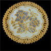Flower Pattern Round Gold Tone Table Coaster Cup Mat Heat Insulation Pad