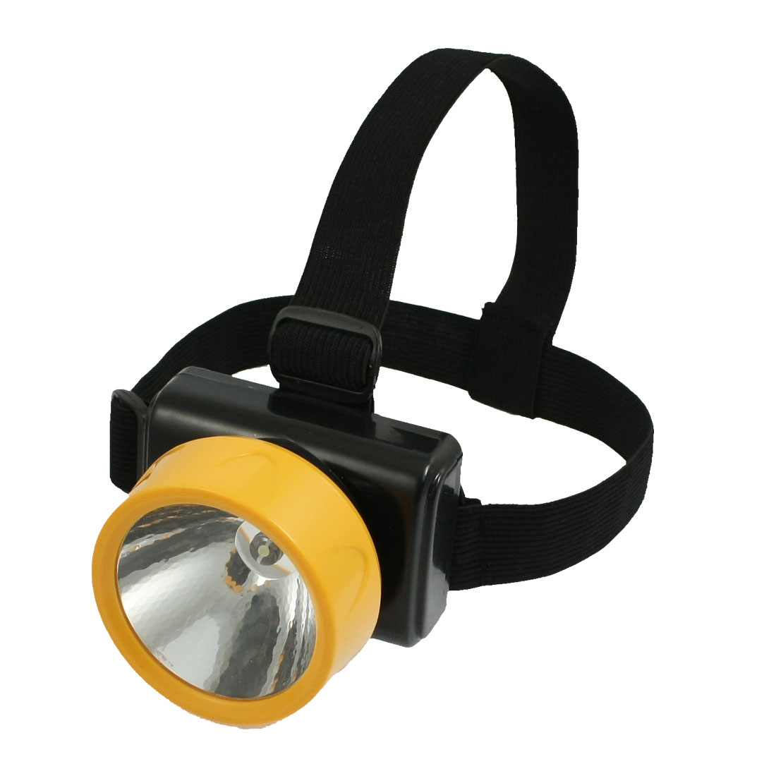 Black Yellow Elastic Headstrap Battery Power LED Adjustable White Light Headlamp