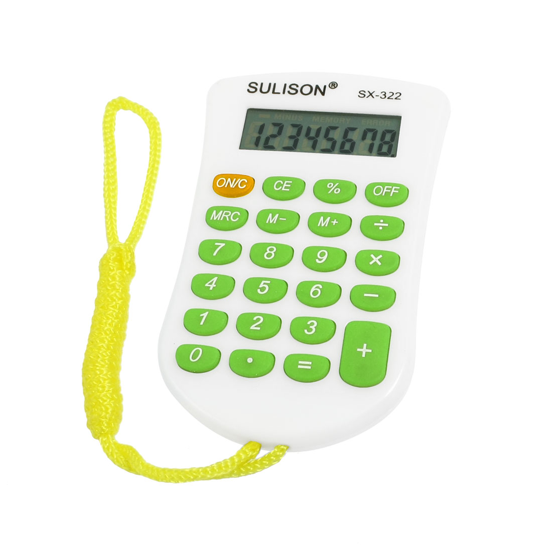 Yellow Neck Strap 23 Rubber Keys 8 Digit Calculator Light Green White for Student