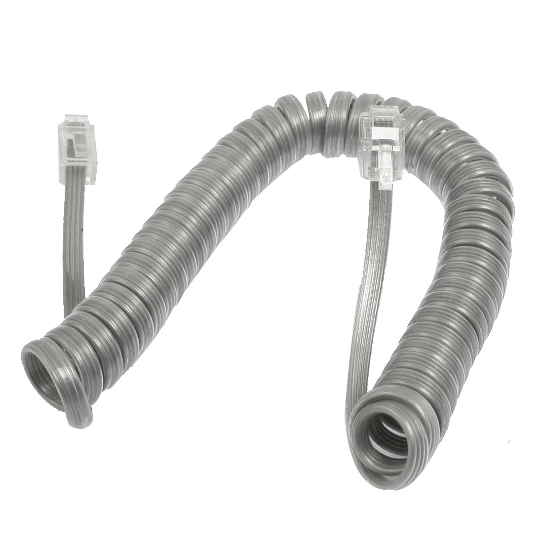 Light Gray Plastic Coiled Cable RJ9 4P4C Connectors Telephone Phone Line