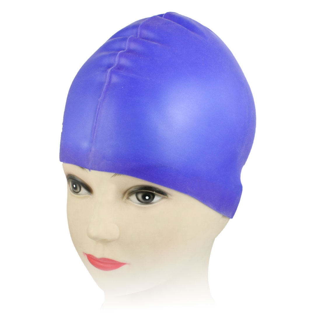 Women Man Swimmer Blue Soft Silicone Waterproof Swimming Cap