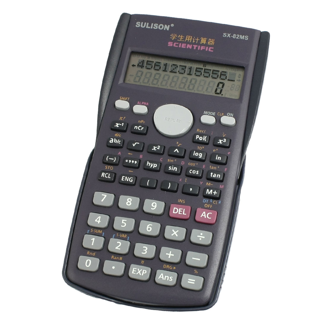 Purple Plastic Shell Two Line Display Students Calculator w Dark Blue Cover