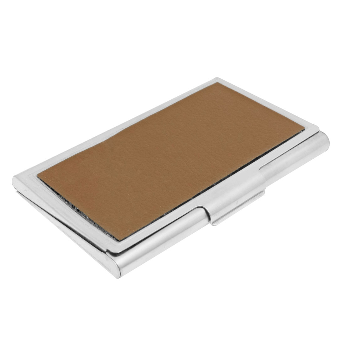 Metal Clip Closure ID Name Business Card Case Holder Silver Tone Brown