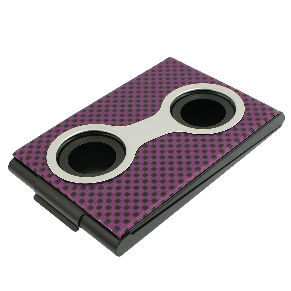 Rectangle Purple Grid Pattern Press Button Business Card Organizer Case