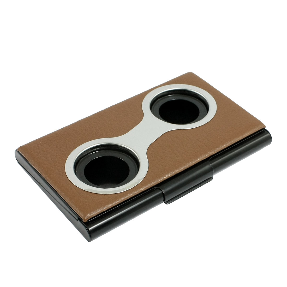Rectangle Brown Lichee Pattern Press Button Credit Business Card Organizer Case