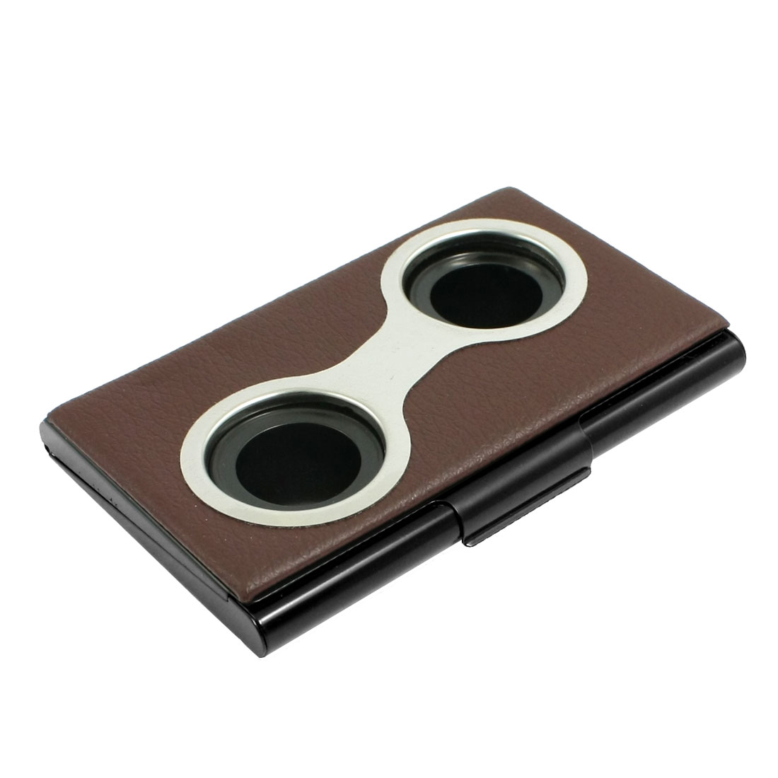 Rectangle Coffee Color Lichee Pattern Press Button Business Card Organizer Case