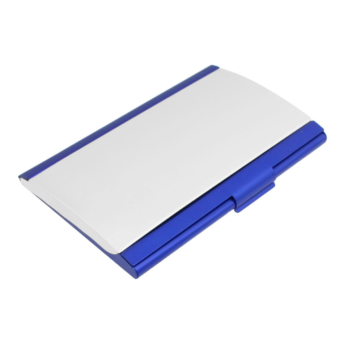 Blue Silver Tone Aluminum VIP Name Business Card Case Holder