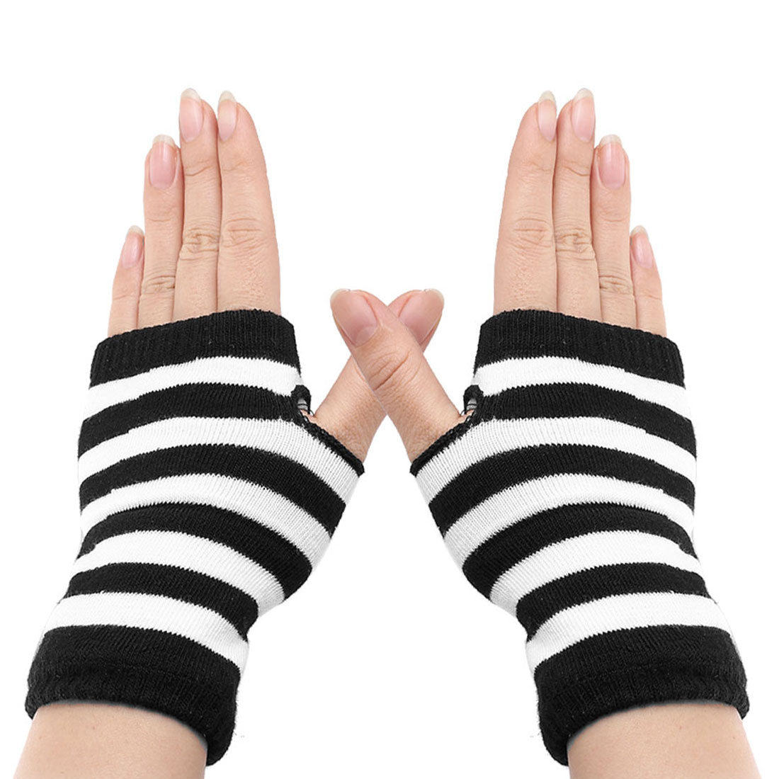 Lady Winter Striped Elastic Thumbhole Fingerless Acrylic Gloves White Black Pair