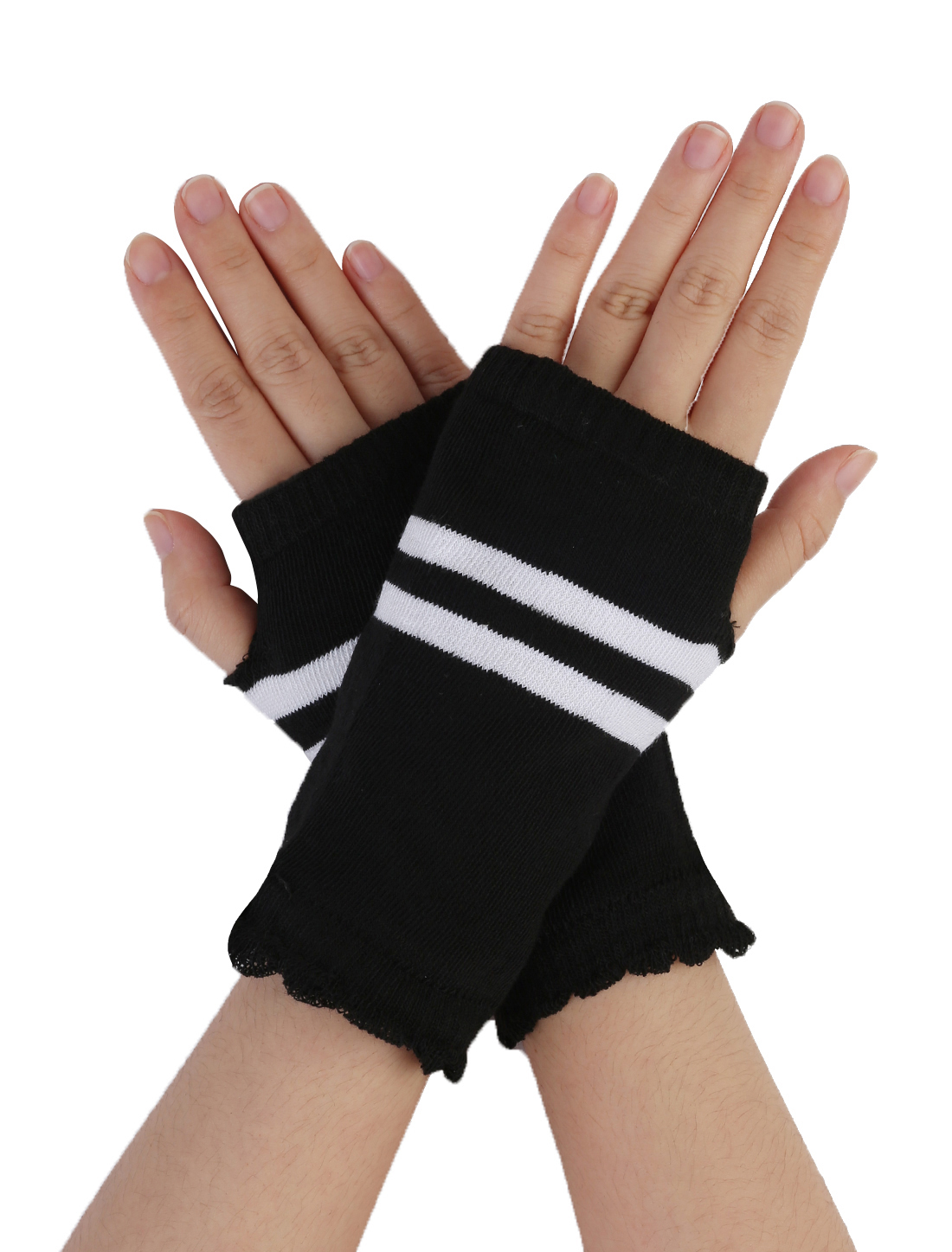 Lady Stretchy Cuff Black White Striped Fingerless Knitted Gloves Pair