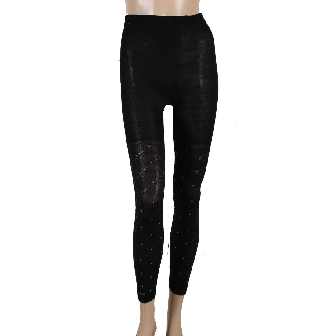 Ladies Check Design Black Elastic Waist Autumn Leggings XS