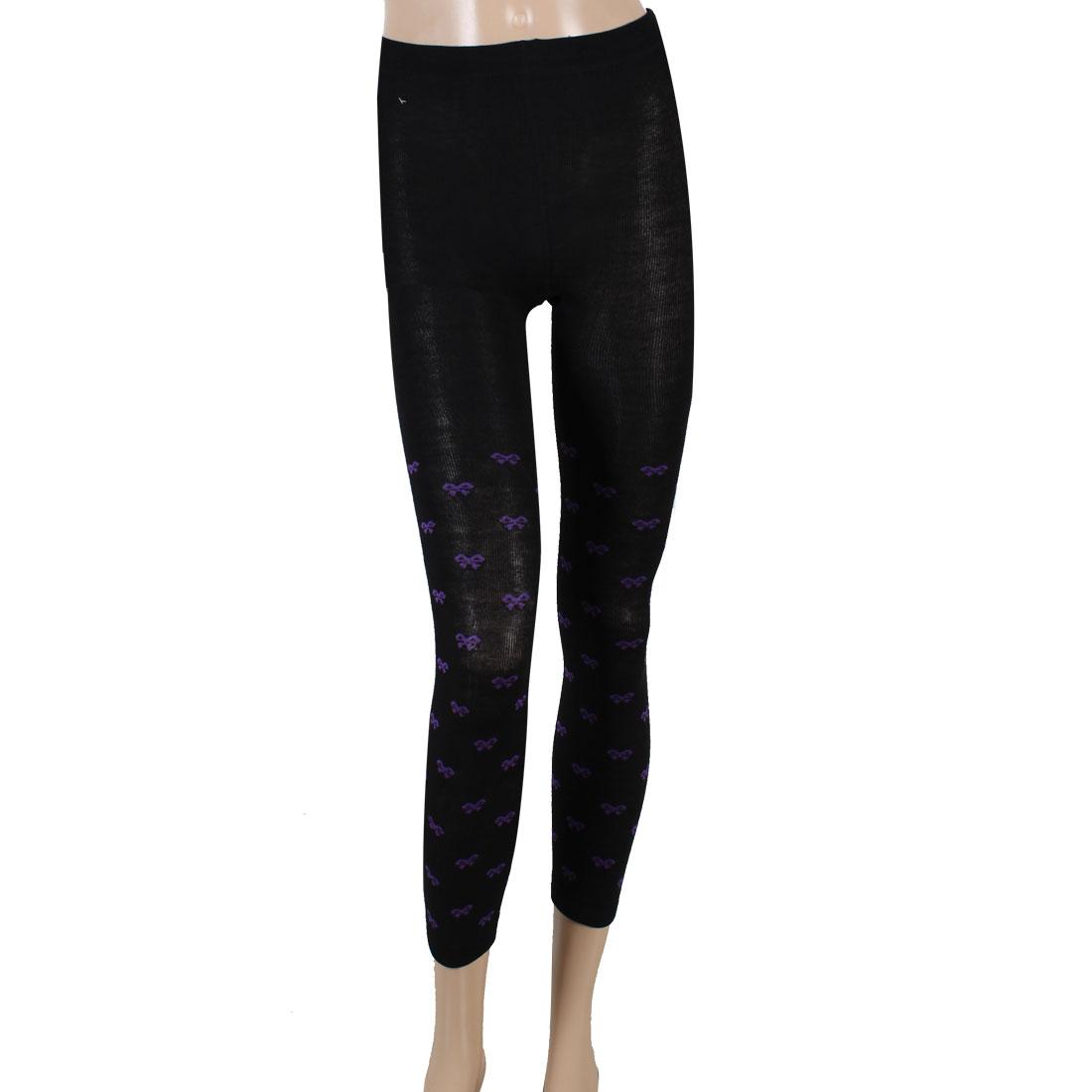 Ladies Purple Bowknot Pattern Black Elastic Waist Autumn Leggings XS