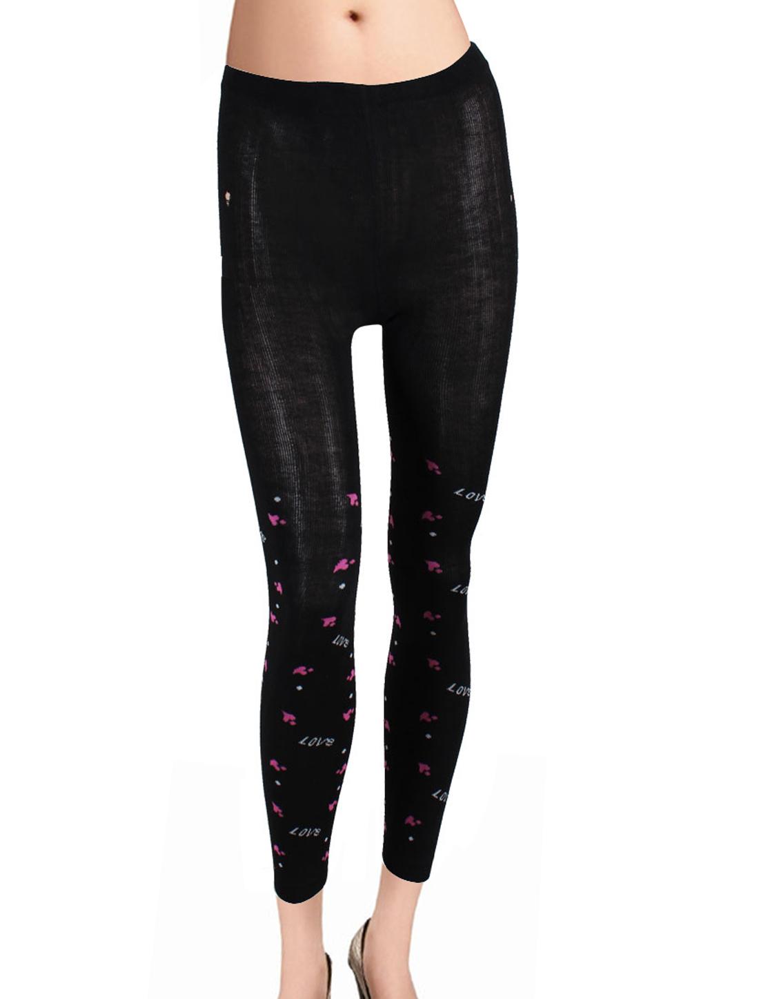 Ladies Letter Love Pattern Black Elastic Waist Autumn Leggings XS