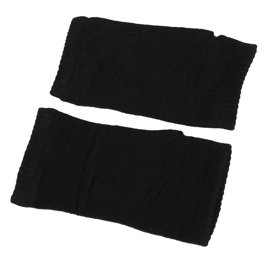 Woman Stretchy Cuff Thumbhole Fingerless Black Acrylic Gloves Pair