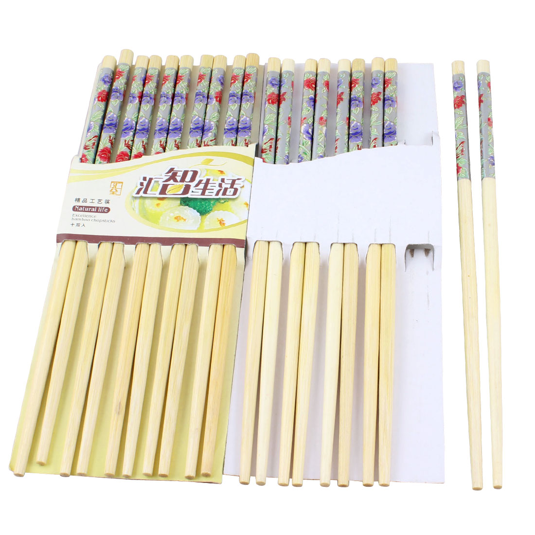 "Round Tip Flower Print 9.4"" Long Bamboo Chinese Chopsticks Wooden Color 10 Pairs"