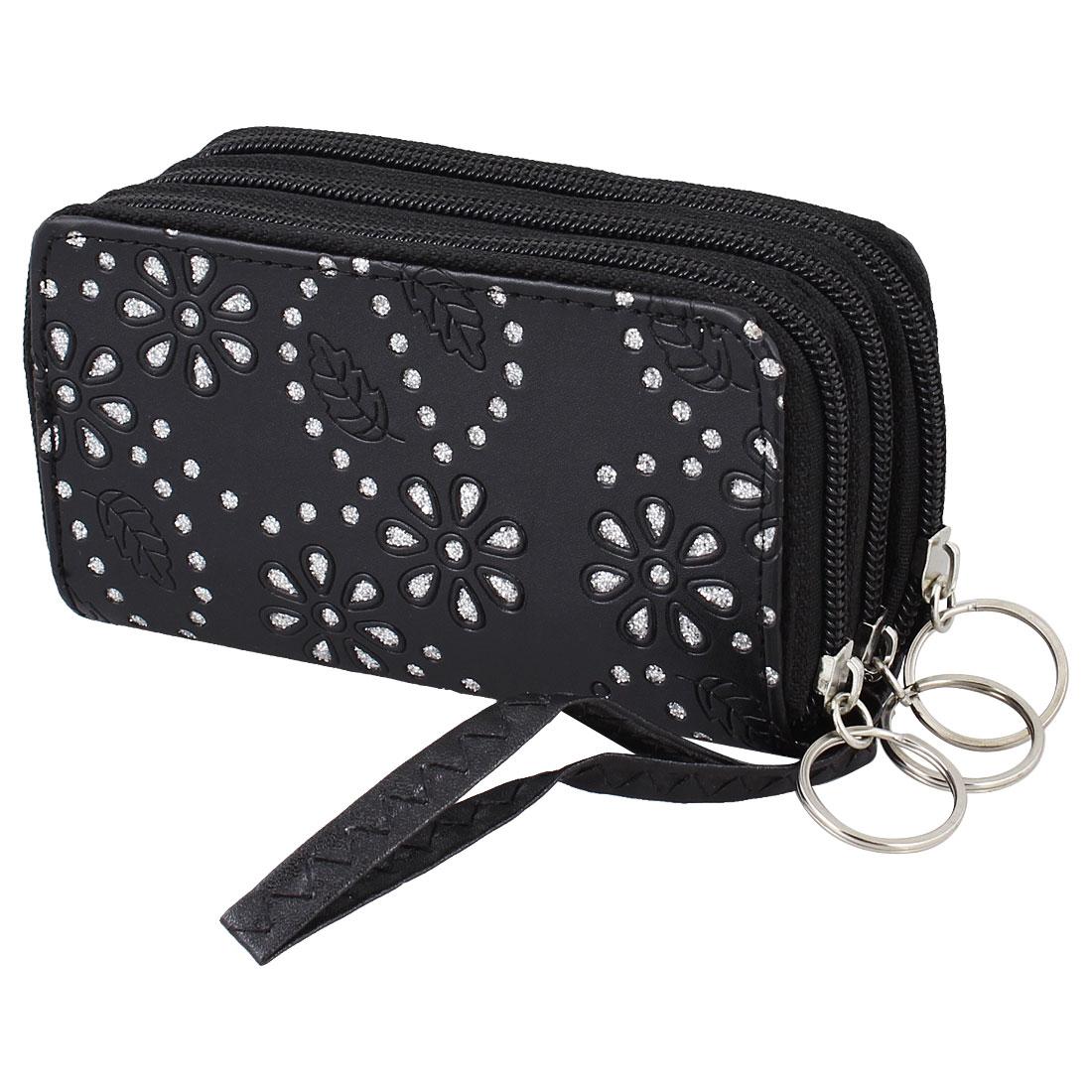 Women Keys Holder Black Floral Leaf 4 Slots Zipper Wallet Purse Handbag Pouch