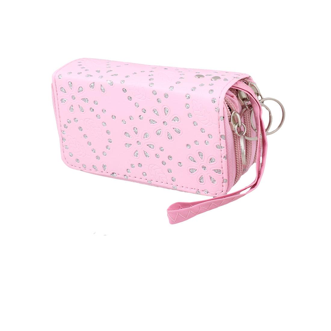 Women Metal Keys Holder Pink Floral Leaf 4 Slots Zipper Wallet Purse Handbag Pouch